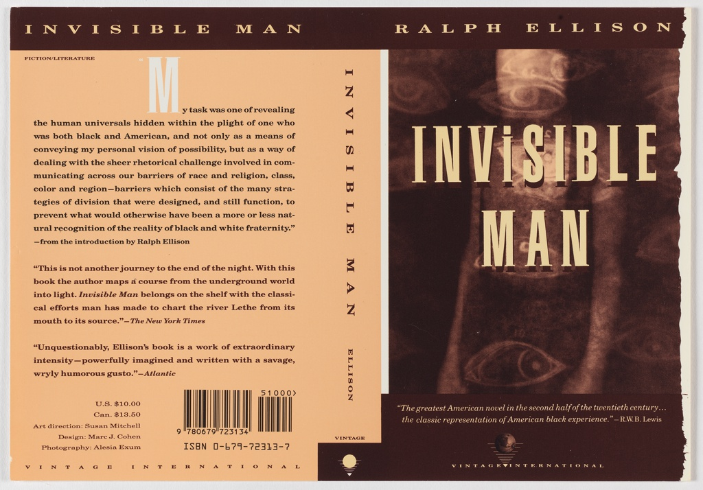 """Front cover, blurry figure overlaid with eye pattern [like tatoos]. Title in beige superimposed on figure. On upper edge of cover, brown band with author's name in beige. On lower edge of cover, brown band with two lines of italicized beige text above Vintage International logo. Back cover, three paragraphs of brown text with white """"M"""" starting first paragraph on peach ground. Upper edge has brown band with book title in beige. On spine, title anad author in brown letters on peach ground."""