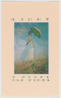 Front cover, vertical rectangle containing impressionistic painting of young woman holding  open parasol while standing in grassy landscape under blue sky with thin clouds. Above image, title in green; below image, author's name in green on peachy flesh- colored ground.