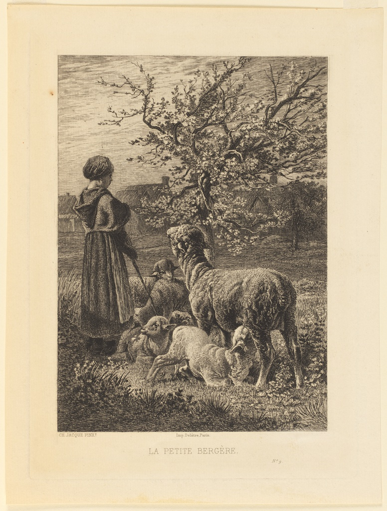 A young shepherdess stands among her sheep. A ewe nurses a lamb. Beyond a gnarled tree is seen a village in the distance.