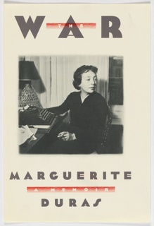 Front cover, square black and white photographic image of a woman sitting at desk with typewriter and lamp,  turned sideways looking to her left and holding a cigarette in the left hand. Above photograph, title  in dark gray colored background. Below in dark gray, between author's name, subtitle in white on red  band.