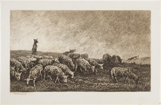 A flock of grazing sheep, with a dog seated on a grassy hillock, at left, watching over them. A running dog is seen in the right distance.