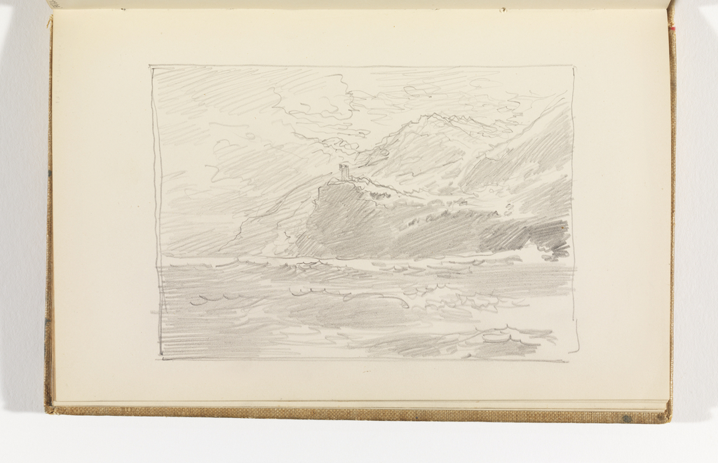 Sketchbook Folio, Seascape with Mountains and Possible Structure, after 1878