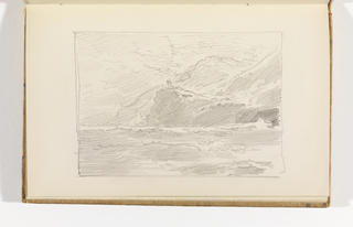 Sketchbook Folio, Seascape with Mountains and Possible Structure