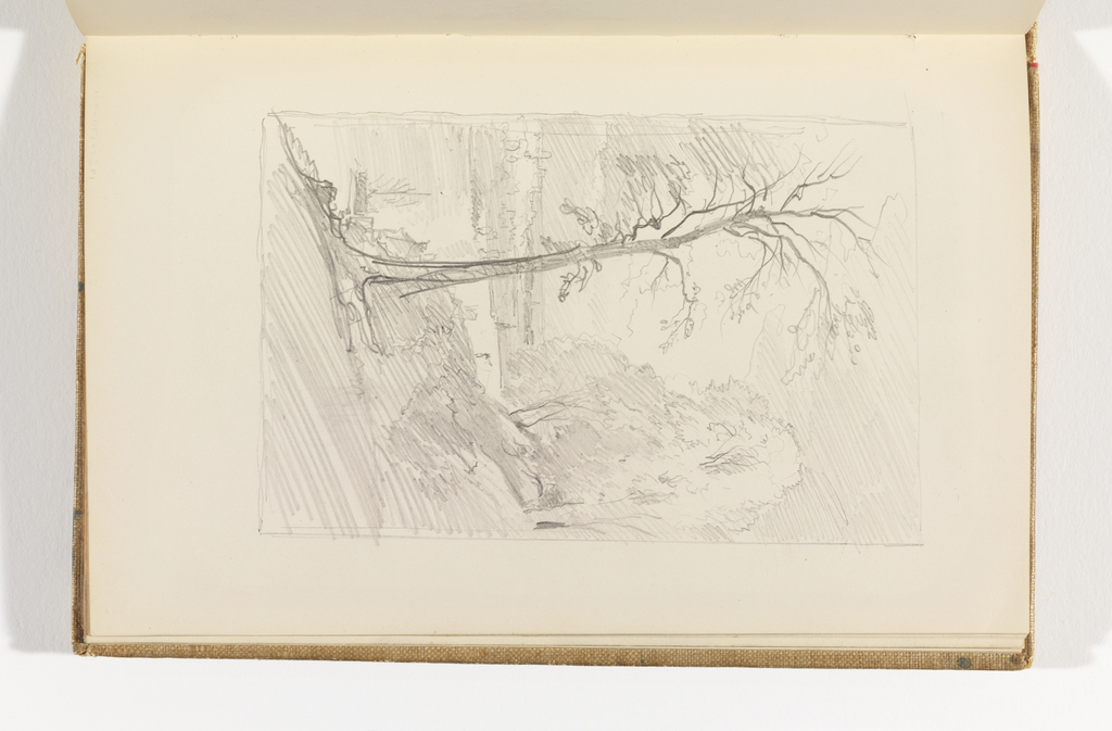 Sketchbook Folio, Tree Covered Hillside Overlooking Port and Harbor Town, after 1878