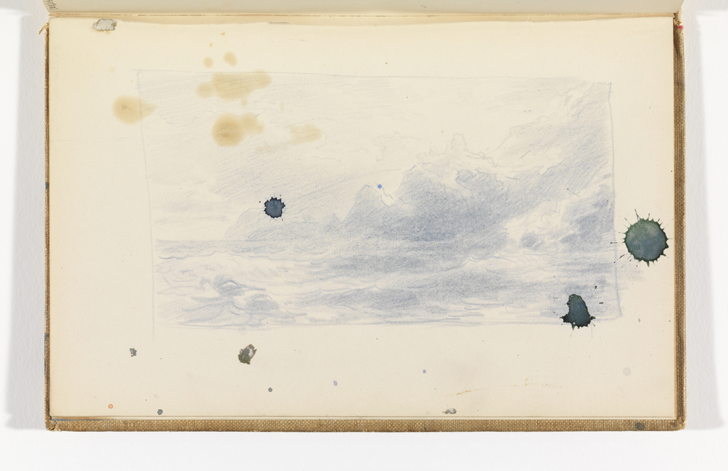 Sketchbook Folio, Blue Seascape with Cliffs and Structures, after 1878