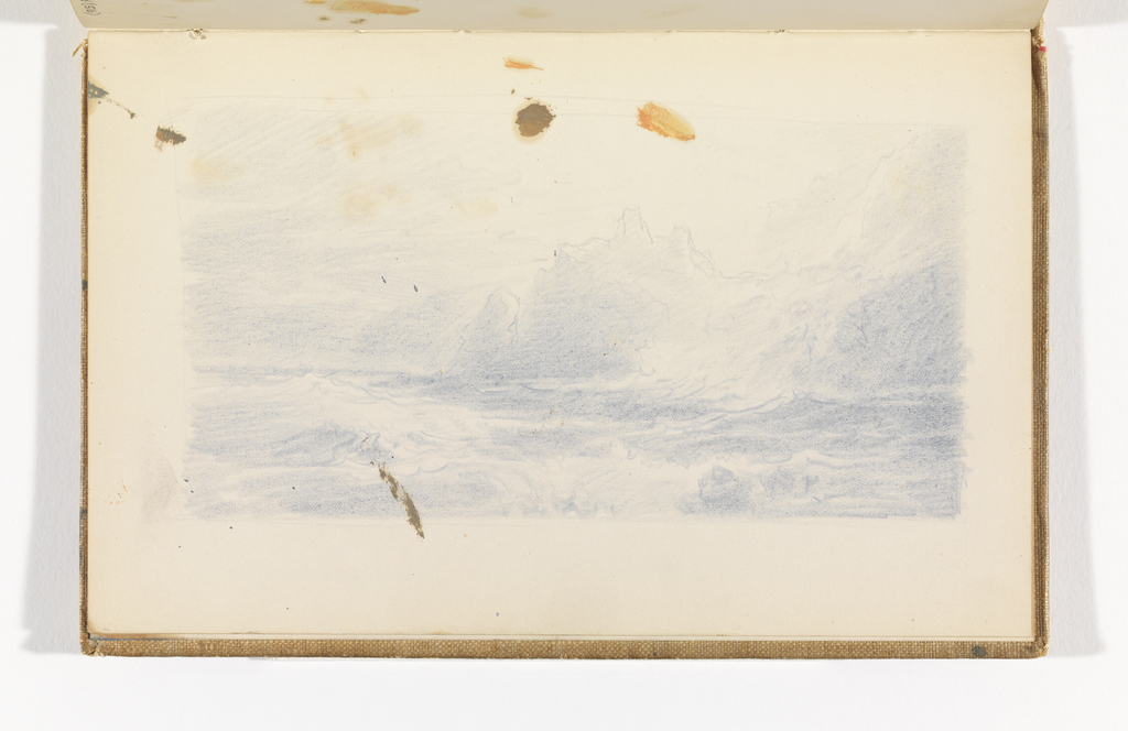 Sketchbook Folio, View of Blue Seascape with Cliffs and Structures, after 1878