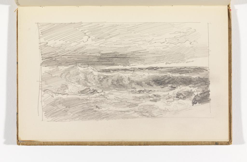 View of choppy ocean out to horizon.