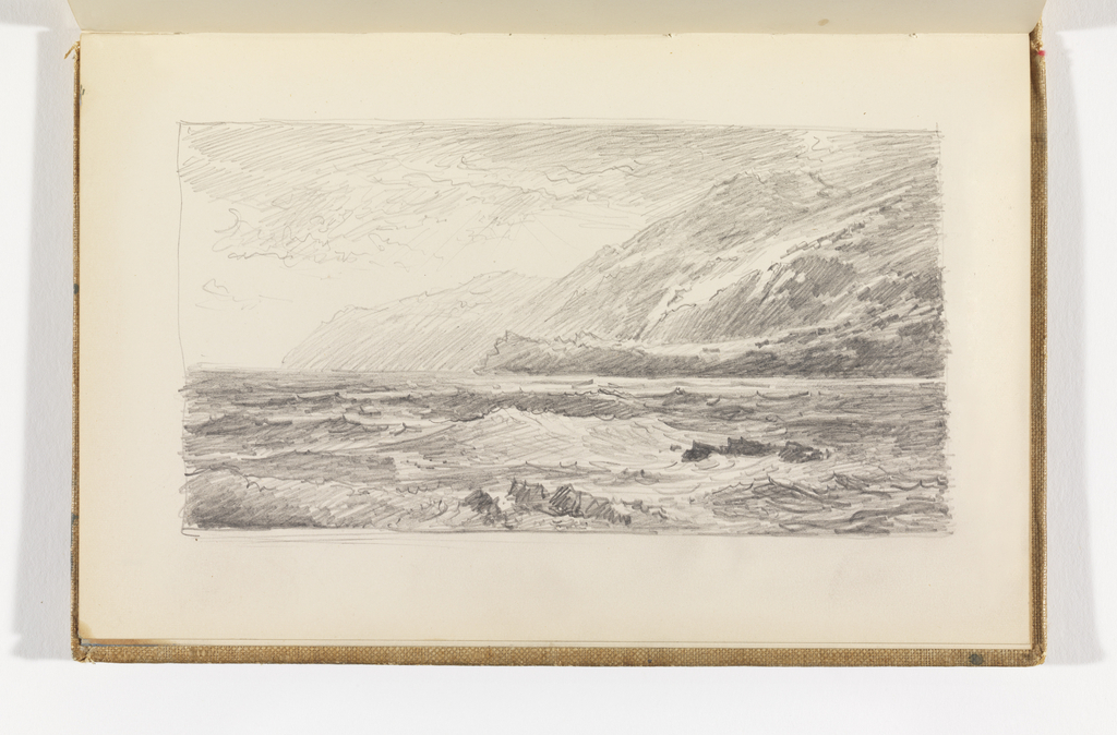 Sketchbook Folio, Waves Breaking on Rocks with Cliffs in Background