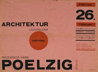 Poster, Architektur Lichtbilder Vortrag (Slide Lecture on Architecture), Professor Hans Poelzig  , 1926