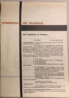Prospectus, Das Bauhaus in Dessau: Arbeitsplan: Der Druckerie (Work Plan: The Print Shop), 1925