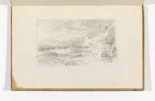Sketchbook Folio, Waves Breaking on Beach with Cliffs at Right