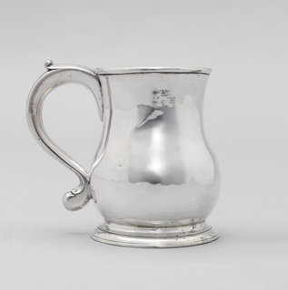 """Baluster-form mug with scroll handle. Engraved """"WEF"""" with asterick under the E."""