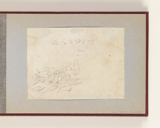 Horizontal very rough sketch indicating soldiers in a sleigh or wagon (possibly).