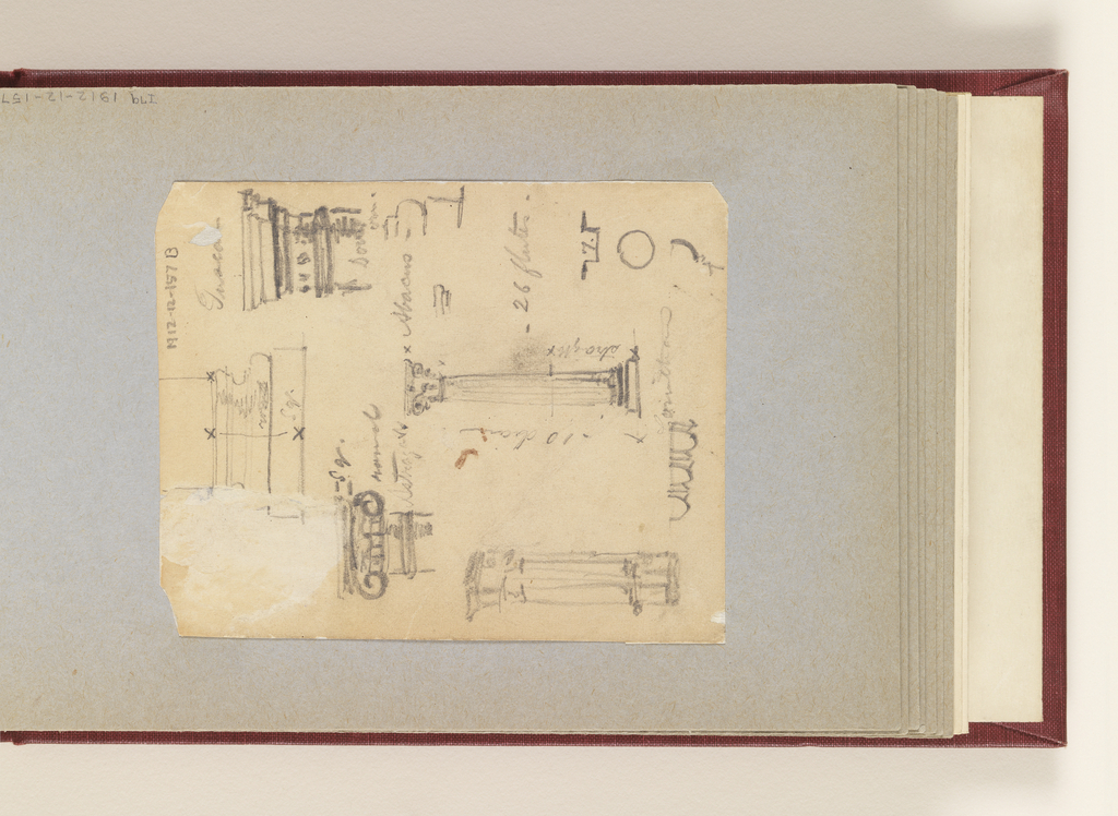 Vertical sketches of the proportions of classical orders of architecture, with detailed notations.