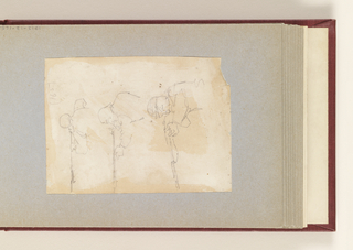 Vertical view containing three horizontal sketches of a soldier firing a rifle.