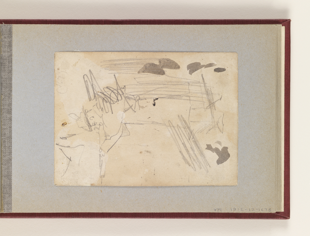 Vertical view of a soldier firing a rifle, with graphite strokes and touches of brush and gray watercolor.