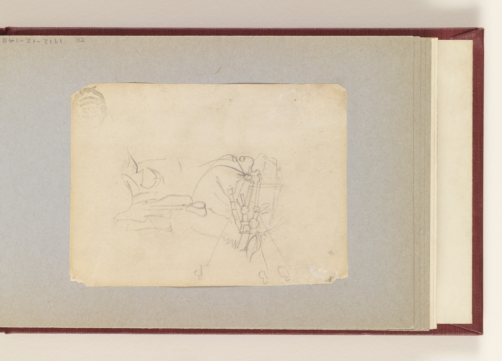 """Recto: Horizontal sketch of a horse's head at left, with 3 color notations of B, and a saddle drawn perpendicularly at right.  Verso:  Crossed out variations of work """"Cossack""""."""
