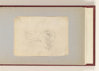 "Recto: Horizontal sketch of a horse's head at left, with 3 color notations of B, and a saddle drawn perpendicularly at right.  Verso:  Crossed out variations of work ""Cossack""."
