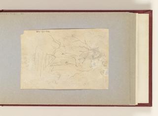 Hasty sketch of man on horseback (drawn vertically ?).