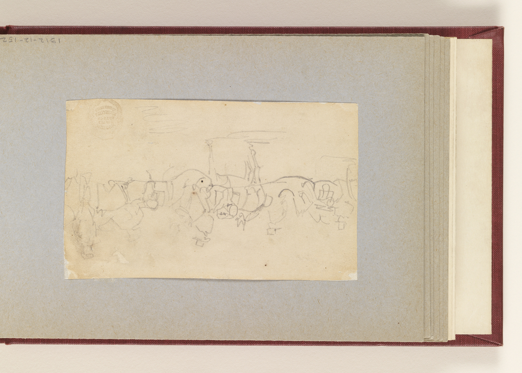 Recto: Horizontal view of series of artillery horses with riders. Verso: outline sketch of artillery horses and of a canon.