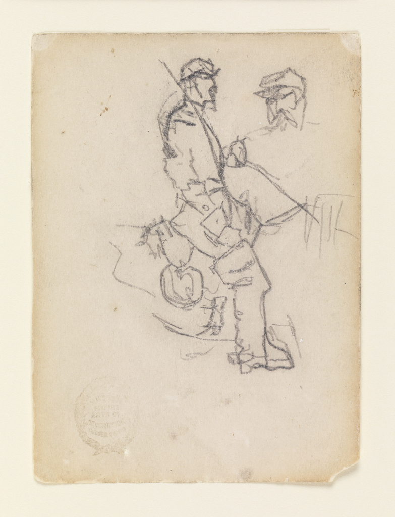 Vertical view of a mounted cavalry officer, seen from the side. Small sketch of a soldier's head at upper right.