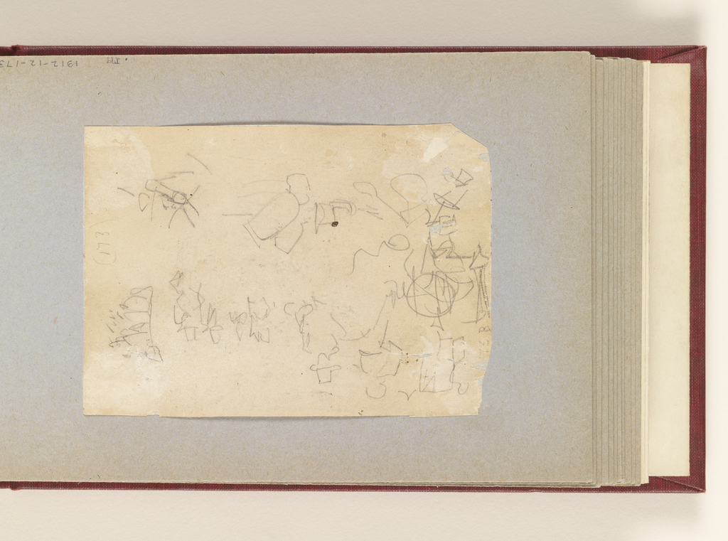 Vertical view of slight, mostly indistinct sketches; one probably representing artillery on the march.