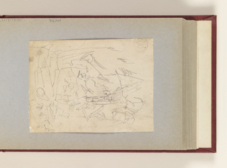 Horizontal sketch of showing soldiers eating near a field kitchen.