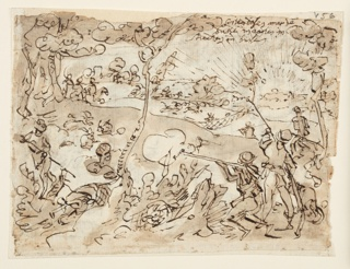 Horizontal rectangle. Verso: Hunters, right, firing at rabbits. In the background, rabbits run toward net, pursued by hunters on horseback. Inscription, upper right. Recto: Rabbit hunt. Hunters and dogs in foreground. Rabbits run toward net in background, left. Six lines of inscription, upper right.