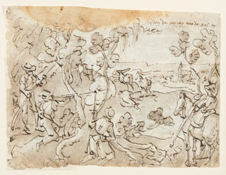 Horizontal rectangle. Verso: Hunters, left, behind the bushes, fire at a group of antelopes. Another hunter on horseback observes the scene, right. Recto: two scenes: top - Ceremony before an altar; angel, right; below - Holy Family with S. Elizabeth, young St. John the Baptist.
