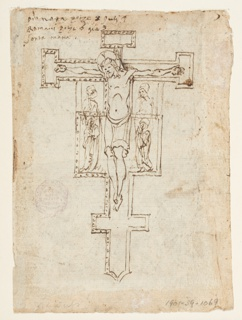 "Vertical rectangle. Verso: Crucifix in the Romanesque scheme shoes a projected elongation of the arms with the figures of the Virgin and St. John up to the very cross-arms and an interchange of the places of the two figures. Inscription in the upper left corner: ""Pianeta pezze 8...(?) in 4 Romani pezze 6 gia 3 (or 5)/ Santa Maria."" Verso, top. Recto: Christ is leaving the water; the dove flies over him. The heavens are open and circles of angels are visible. ""6"" is written below, bottom, horizontally; below: the Virgin is supported by angels. Others accompany her."