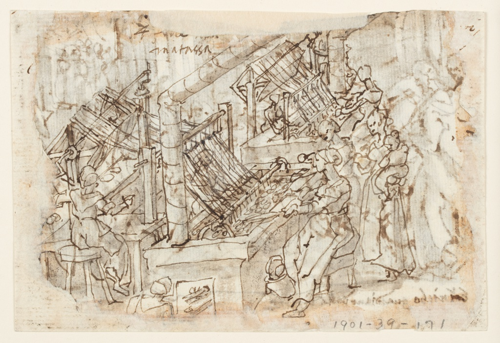 Horizontal rectangle. Verso: Several women are seated at tables on which the silk worm cocoons are place, and are in the process of unwinding the cocoons, the thread being wound on large spools. Woman stands at right, holding a child in her arms. Another tends the fire in left foreground.