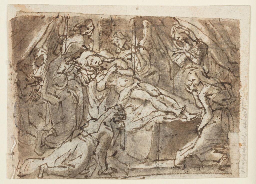 Recto: Christ is shown lying upon a sarcophagus. Two angels hold lighted candles near his head. The Virgin kneels beside it. Four other women, and an indistinct figure in the back, mourn the dead Christ. Below is a framing line, part of which is on -2648a. A few strokes at the lower edge belong to -2648a. Verso, vertically: Zeuxis uses a number of models to fashion an image of Helen of Troy. The study of the leg is above, at left. Zeuxis paints with his left hand after a girl standing upon a platform. Two of the others are seated, one takes her skirt off, the fourth stands in the right foreground. Framing line, at left. The line and strokes at the left edge belong to -2648b.