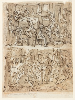 Recto, above: Birth and naming of John the Baptist; Recto, below: John the Baptist preaching in the wilderness; Verso, above: Baptism of Christ; Verso, below: Visitation;