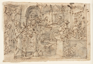 Recto: Two workmen sit behind a desk in the right foreground. A man at left works at a great clock watched by another. Two men work beside the fire in the right background. Three clocks hang at the left wall and a workman is busy with one of them. Verso: Last Supper, loosely worked, the space framed by a large arch.