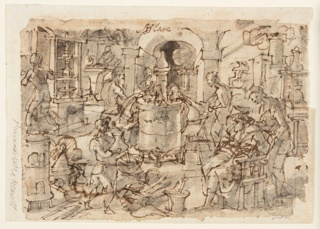 """Recto: View of a laboratory with chemists and assistants distilling. At center, a large vessel for heating. In the foreground at right, a man seated in a chair, reading a manual; a young man stands behind him. At left, a boy with mortar and pestle. Verso: Sketches of five figures. A doctor appears seated, below, and standing, above. This is a preparatory drawing for the """"Hyacum et lues venera"""" print, plate 6 from Stradanus's Nova Reperta series, published in Antwerp by Philips Galle."""