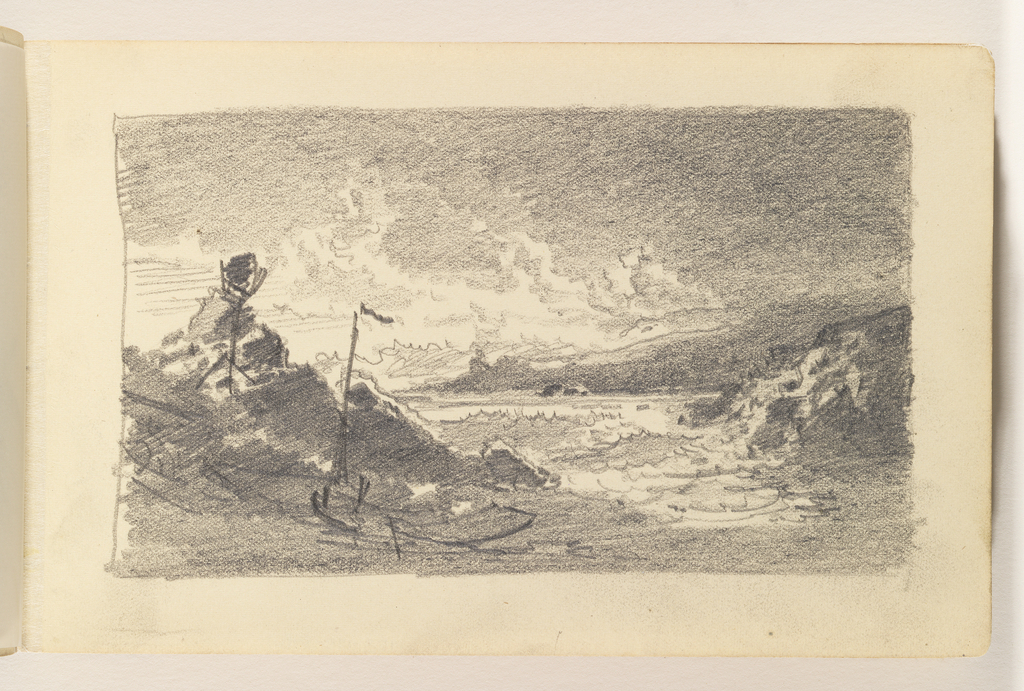 Boats in foreground at left, on beach, with a  large, black rock directly behind them. At right, choppy sea with rocks in middleground and a landmass in the distance.
