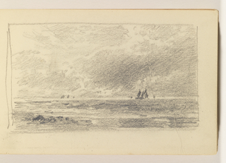 Calm sea with small rocks on shore at left in foreground, At right in distance, three small sailboats. On horizon at left, three additional boats.