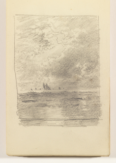 Choppy sea in foreground. In distance, at left center, two prominent sailboats. On horizon at left and right center, 6 distant boats.