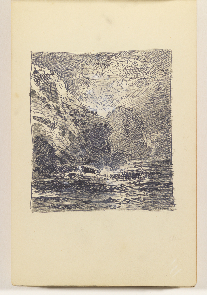 Ocean in foreground with tall cliff at left and second cliff in distance at center. Sun coming through gap between the two cliffs.