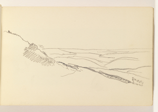 Outline of hill at left with ocean contours at right and in distance.