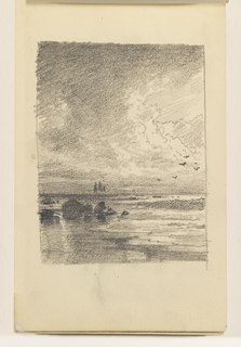 Shoreline with calm ocean and rocks at left. On horizon at left center, two boats. Birds in sky at right.