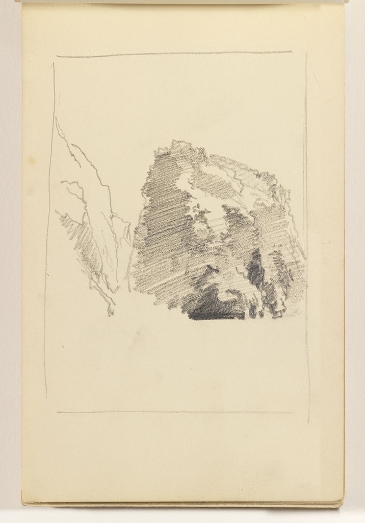 Unfinished study of two cliffs, one at left and one at right.