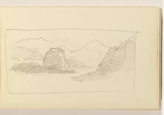 Sketchbook Folio, Unfinished Sketch of Mountains or Cliffs
