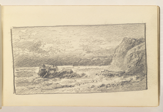 Ocean in foreground with large rock in middleground at left. Small cliffs further back at right.