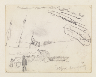 "A sketch (from memory?) with a composition of disassociated elements: at left a ship with three masts, from whose rightmost mast flies an inverted United States flag; at lower left foreground, two men push a dory on a carriage (compare with ""The Wreck"") towards rocks and grass, in the right distance, a hill or rise is implied. At right, numerous manuscript notations."