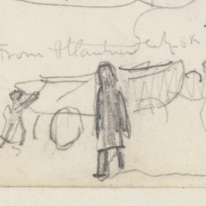 """A sketch (from memory?) with a composition of disassociated elements: at left a ship with three masts, from whose rightmost mast flies an inverted United States flag; at lower left foreground, two men push a dory on a carriage (compare with """"The Wreck"""") towards rocks and grass, in the right distance, a hill or rise is implied. At right, numerous manuscript notations."""