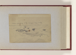 Horizontal sketch with the upper portion containing a rocky coast line with a foundered boat and, apparently, figures floating in the water.