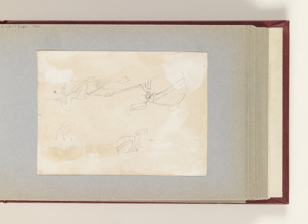 At top right, vertical view with a soldier resting on his rifle, shown from the back; at left two, indistinct sketches; at bottom right, in opposite direction, a part of a horseman (soldier) shown from the left back.
