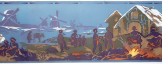 Dutch scene with groups of figures in the foreground, along with a dog and mule; buildings behind figures, windmills in the distance. Airbrushed in purple, lavender, olive green, white, orange, yellow and metallic gold on light blue ground.