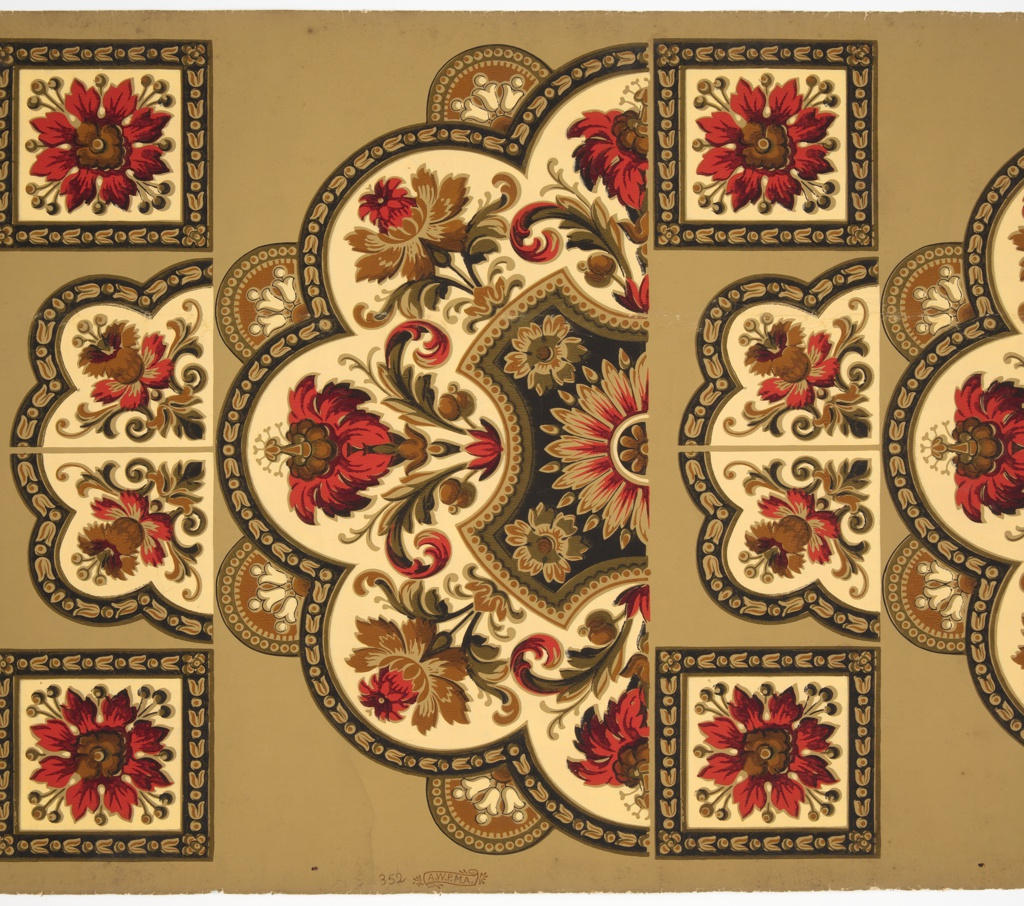 Ceiling Medallion, Ceiling Medallion with Stylized Floral Ornaments